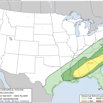 'Slight' threat of severe storms again today