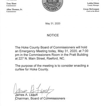 Hoke commissioners call emergency meeting Sunday to consider a curfew