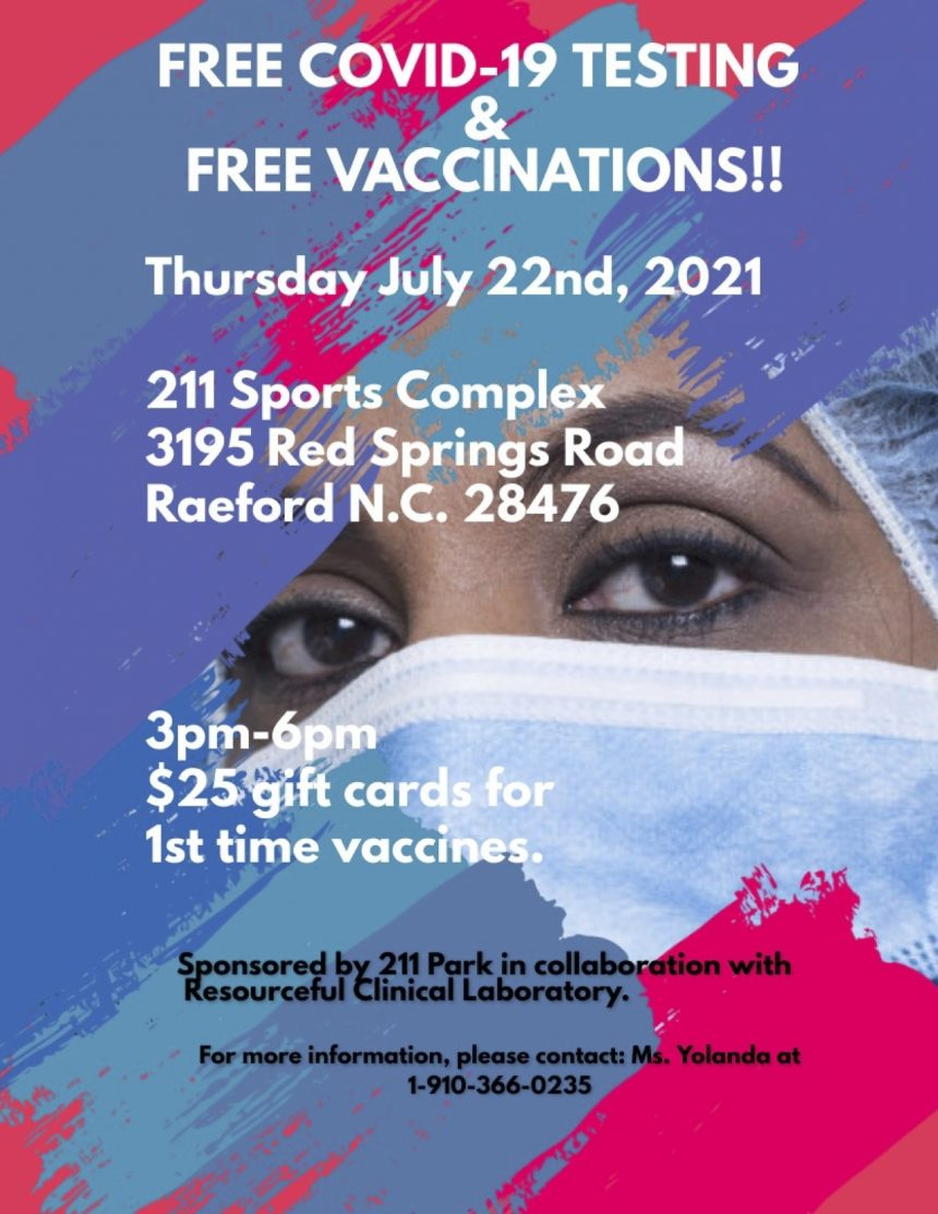 COVID-19 vaccines, testing, and gift card giveaway at NC211 park Thursday